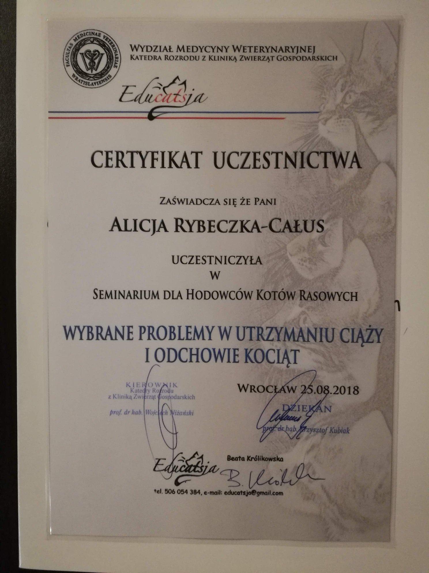 Certyfikat rozród